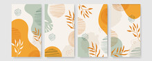 Tropical Boho Themed Banners Set. Creative Compositions Of Colorful Palm Leaves And Branches. Floral Geometric Design Template For Posters, Covers, Social Media Stories. Flat Style Vector Illustration