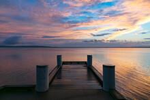 Wharf On Lake Early Morning At Sunrise