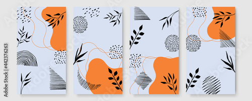 Photo Set of universal hand drawn floral template for cover