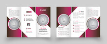 Corporate Business Trifold Brochure Design Template. Design Template Geometric Shape Used For Business Trifold Brochure Layout. Corporate Brochure, Business Brochure, A4 With Bleed, Print Ready