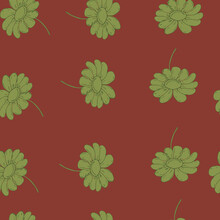 Vector Illustration Seamless Pattern Gray Daisies On A Red Background,for Wallpaper ,fabric Or Furniture