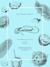 Coconut Frame Poster, Retro Hand Drawn Vector Illustration.