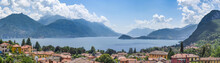 Lake Como, Italy, Seen From The Hills Above Menaggio, With Varenna (left) And The Bellagio Peninsula (center).