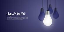Realistic Growing Light Bulb On Dark Blue Background