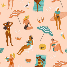 Summer Girls Pattern. Vector Seamless Pattern With Young Cartoon Women In Swimsuits Spending Time On A Beach In Different Actions: Standing, Sitting, Laying.