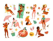 Women On A Beach. Vector Illustration Of Young Cartoon Diverse Women In Swimsuits In Different Actions: In The Swim Ring, Sunbathes, With A Surfboard, And Reading, Surrounded By Beach Accessories