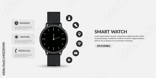 Valokuvatapetti Smart watch for business communication, display different functions and apps ico