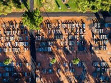 Overhead View Of Country Cemetery In Rural Australia