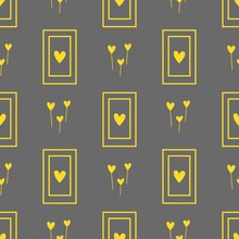 Rectangles With Yellow Hearts On Gray Background. Geometric Pattern. Rectangle Pattern, Vector.
