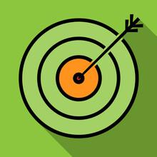 Goal Or Target Achieved Symbol, Arrow In Bulls Eye Of Target, Simple Vector Illustration