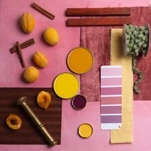 Color Palette Mood Board For Decor And Interior Design Top View