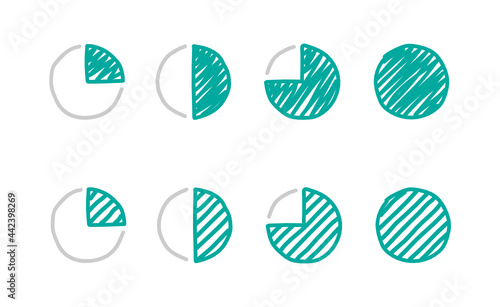 Progress of work, pie chart, four quarters, icon pack