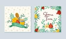 Rosh Hashana Jewish Holiday Greeting Card With Attributes And Symbolic Food Vector Set