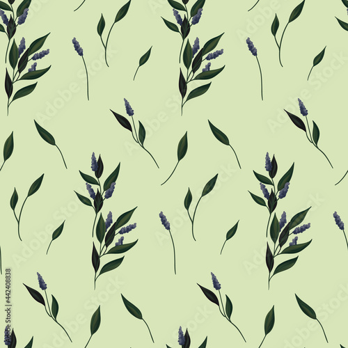Stampa su Tela Seamless botanical pattern in vintage style