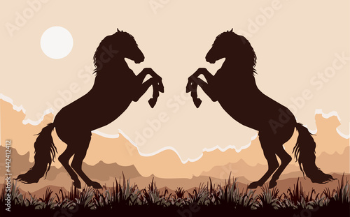 Tablou Canvas silhouettes of two Spanish horses standing on their hind legs, isolated on a white and landscape background