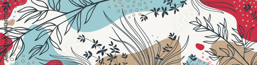 Fotografie, Obraz Botanical banner with organic shapes, leaves, branch and plants