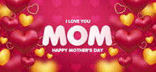 Modern Mothers Day Background With Realistic Hearts Frame