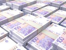 Argentine Money. Argentine Peso Banknotes. 100 ARS Pesos Bills.