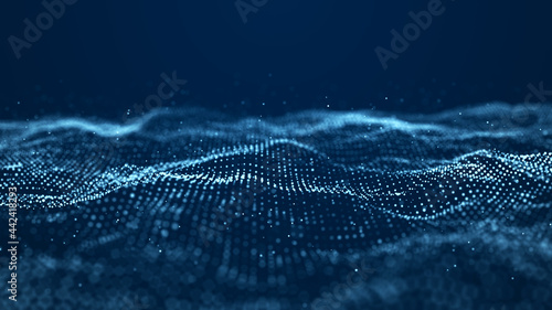 Obraz na plátně Abstract wave with moving dots