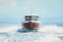 Fast Boat On Wavy Blue Sea. Luxury Motor Boat In Navigation