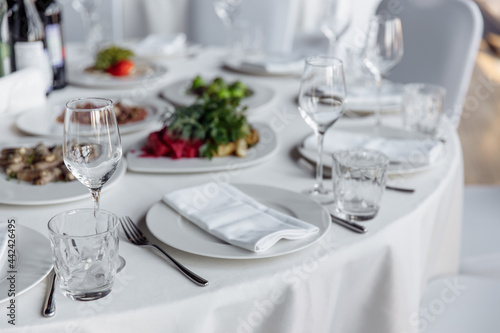 Tela Table setting for a banquet or celebration