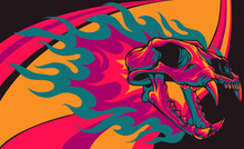 Vector Illustration Of Tiger Skull With Flames