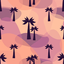 Silhouettes Of Palm Trees. Bright Seamless Vector Pattern.