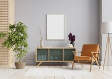 Interior Poster Mock Up With Horizontal Empty Wooden Frame,Scandinavian Style.