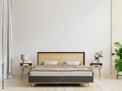 Fotografiet Bedroom interior in farmhouse style,white wall mockup.