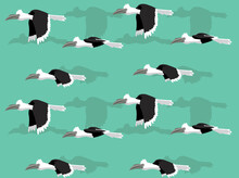 Animal Animation White Crowned Hornbill Cartoon Vector Seamless Wallpaper