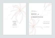 Minimalist Foliage Wedding Invitation Card Template Design, Leaves Line Art Ink Drawing On White
