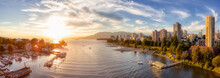 Aerial Panoramic View Of Modern City With A Beach On The West Coast Pacific Ocean. Sunny Summer Sunset. False Creek, Downtown Vancouver, British Columbia, Canada.