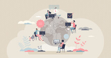 Remote Work With Distant Employee Network In Internet Tiny Person Concept. Company Virtual Meeting, Information Exchange Or Data Sharing With Working From Home Vector Illustration. Flexible Workplace.
