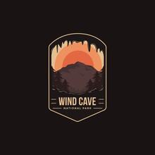 Emblem Patch Logo Illustration Of Wind Cave National Park On Dark Background