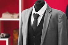 Mannequin With Stylish Male Suit, Closeup