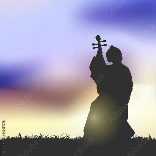 Fotografie, Tablou An Ancient Chinese Beauty Playing A Chinese Lute Under The Sunset