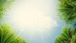 Leinwandbild Motiv Palm leaves in front of blue sunny summer sky