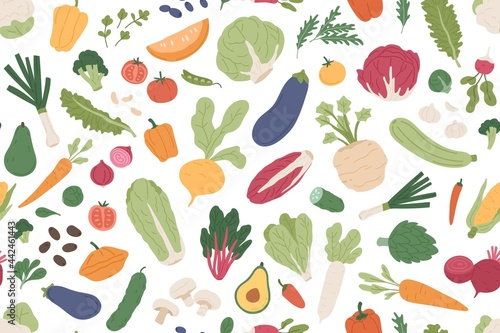 Obraz na plátně Seamless vegetarian pattern with healthy vegetables and fresh green food on white background