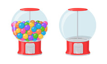 Gumball Machine, Red Dispenser With Colored Bubble Gums And Sweets. Vector Cartoon Set Of Empty Vending Machine And Full Of Round Chewing Candies Isolated On White Background