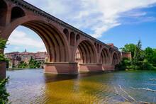 Albi Old Red Brick Stone Bridge Over The Tarn River In France