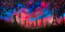 Hand Painted Art Painting Night City Paris With Girl With Balloons And Beautiful Eiffel Tower Art Fantasy Background Oil Painting Acrylic On Canvas Night Landscape With Blue Purple Starry Sky
