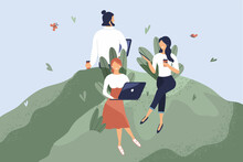Office Workers Sitting On Green Lawn. Concept Of Good Comfortable Environment At Work, Favorable Psychological Climate,high Pay And Freedom Of Creativity For Employees. Raster Flat Illustration