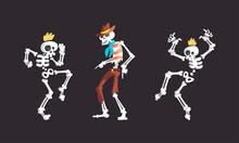 Bony Skeleton Character Dancing Moving Limb Vector Set