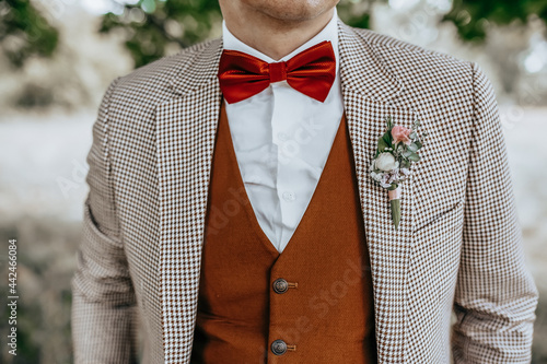 Foto Groom in a suit with a wedding flower boutonniere and a red bow tie in nature