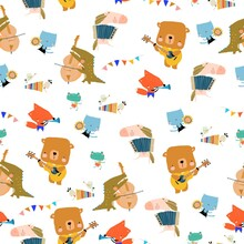 Seamless Pattern With Cute Animals Playing The Musical Instruments