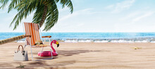 Orange Beach Chair Under The Palm Tree With Summer Accessories 3D Rendering, 3D Illustration
