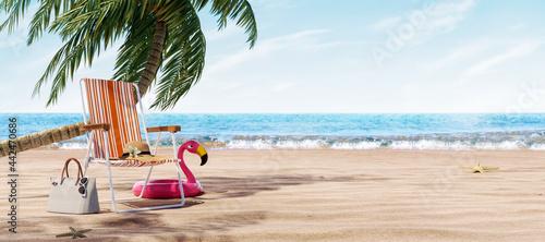 Billede på lærred Orange beach chair under the palm tree with summer accessories 3D Rendering, 3D
