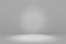 Blank White Gradient Background With Product Display. Empty Studio With Room Floor Or White Backdrop. 3D Rendering