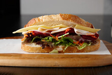 Healthy Ham, Cheese And Salad Sandwich On Board