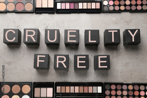 Canvastavla Flat lay composition with words Cruelty Free and eyeshadows not tested on animal